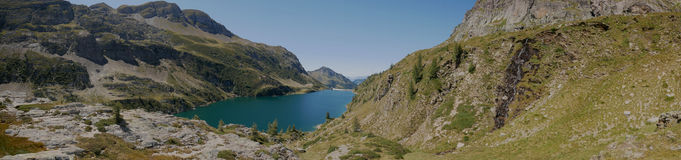 Panoramic view of lake Colombo basin and dam on the Bergamo Alps Royalty Free Stock Image