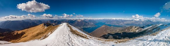 Panoramic view of Lake Como as seen from Monte San Primo. Lombardy, Italy Royalty Free Stock Photo