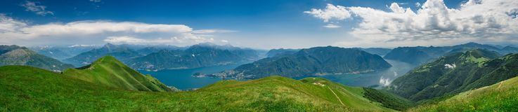 Panoramic view of Lake Como. As viewed from  Monte Tremezzo, Lombardy, Italy Stock Photo
