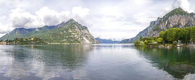 Panoramic view of Lake Como and Lecco city, Italy Royalty Free Stock Photography