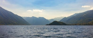 Lake Como, Lombardy, Northern Italy, Europe. Panoramic view of Lake Como, Lombardy, Northern Italy, Europe view west towards Villa del Balbianello royalty free stock image