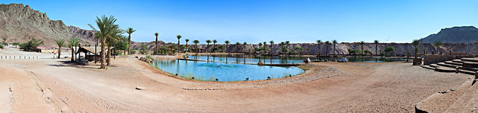 Panoramic view at lake in the desert Royalty Free Stock Photography