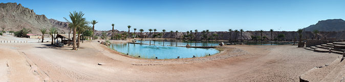 Panoramic view on a lake in a desert, Timna park, Israel Stock Images