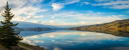 Panoramic view of Lake Dunstan in Cromwell. New Zealand Stock Photo