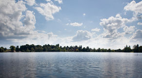Panoramic view of lake at Ellesmere stock photos
