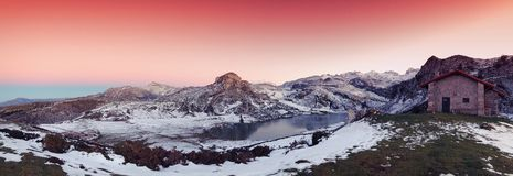 Panoramic view of Lake Ercina with snow in Asturias. Royalty Free Stock Photo