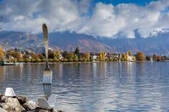 Panoramic view of Lake Geneva and Alps, canton of Vaud, Switzerland Stock Image