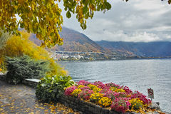 Panoramic view of Lake Geneva and Alps, Montereux, Switzerland Stock Photo