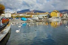 Panoramic view of Lake Geneva from town of Vevey, Switzerland Stock Photos