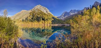 Panoramic view of Lake Kardyvach. Caucasian Biosphere Reserve. Lake Kardyvach is the mirror heart of the Caucasian Biosphere Reserve stock photo