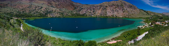 Panoramic view of lake Kourna, Crete Stock Image