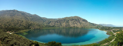 Panoramic view of Lake Kournas Royalty Free Stock Photo
