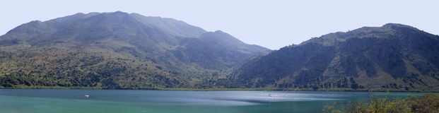 A panoramic view of Lake Kournas, Crete. Royalty Free Stock Photography