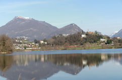 Panoramic view of lake Lago di Muzzano in Lugano in Ticino, Switzerland Royalty Free Stock Images