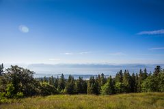 Panoramic View of Lake Leman and the Mont-Blanc Mountain Chain o stock photo