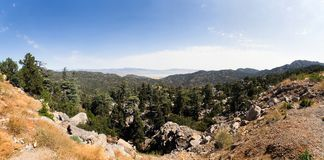 Panoramic view of the lake located behind the mountains. Royalty Free Stock Photography