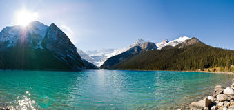 Panoramic view of lake Louise Royalty Free Stock Image