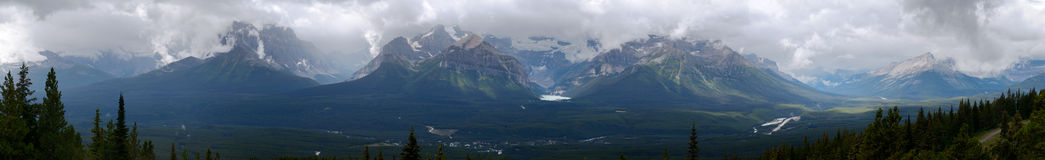 Panoramic view of Lake Louise and Surrounding Mountains Royalty Free Stock Image