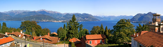 Panoramic view on Lake Maggiore. Stock Images