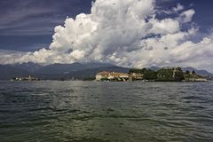 Panoramic view of Lake Maggiore and its islands royalty free stock images