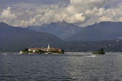 Panoramic view of Lake Maggiore and its islands stock photos