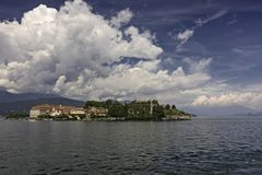 Panoramic view of Lake Maggiore and its islands stock image