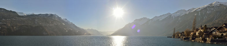 Panoramic view of the lake and Municipality of Brienz. Switzerland. Panoramic view of the lake and Municipality of Brienz in the district of Interlaken. Canton Royalty Free Stock Images