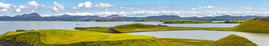 Panoramic view of lake Myvatn and pseudo craters aka volcanic near Skutustadir on Iceland, summer time stock photos