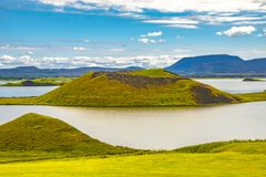 Panoramic view of lake Myvatn and pseudo craters aka volcanic near Skutustadir on Iceland, summer time stock photo
