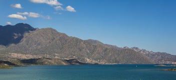 Panoramic view of Lake Potrerillos in the Mendoza region of Argentina royalty free stock photo