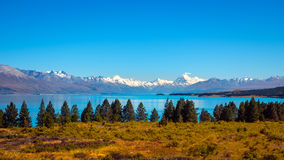 Panoramic view of Lake Pukaki and Mt Cook mountain range Stock Images