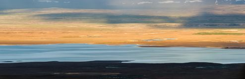 Panoramic view of Lake Sandvatn in Kjolur highland desert of Iceland. Panorama view of Lake Sandvatn in Kjolur highland desert of Iceland Stock Photography