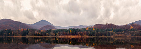 Panoramic View of Lake Shore in Autumn Stock Photography