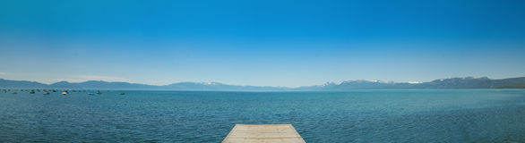 Panoramic view of Lake Tahoe. From a pier on the North Shore Royalty Free Stock Photo