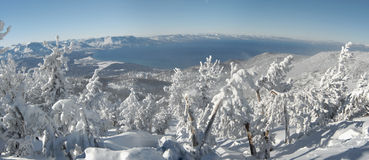 Panoramic view of Lake Tahoe from the mountain top stock images