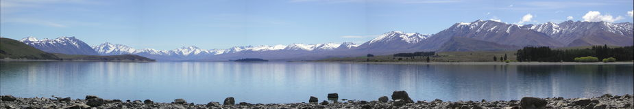 Panoramic view of Lake Tekapo 2004 stock photos