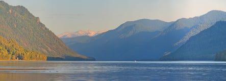 Panoramic view of lake Teletskoe, Mountain Altai, Siberia, Russia Stock Photos