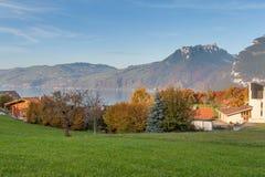 Panoramic view Lake Thun in Switzerland apls near town of Interlaken Stock Image