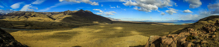 Panoramic view on Lake Viedma and valley, from the surrounding mountains near El Chalten, Patagonia, Argentina. El Chaltén is a small mountain village in stock photography