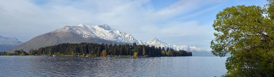 Panoramic View of Lake Wakatipu & Mount Cecil, New Zealand stock images