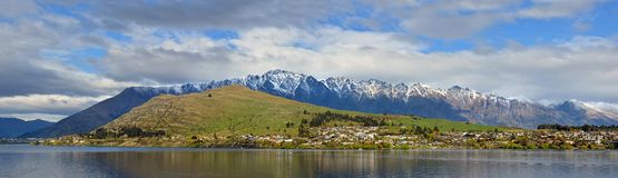 Panoramic View of Lake Wakatipu, Remarkables & Kelvin Heights royalty free stock images