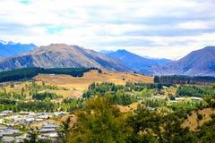 Panoramic view of lake Wanaka town. New Zealand Stock Photography