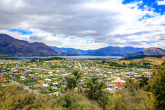 Panoramic view of lake Wanaka town. New Zealand Stock Photography