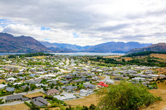 Panoramic view of lake Wanaka town. New Zealand Royalty Free Stock Images