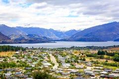 Panoramic view of lake Wanaka town. New Zealand Royalty Free Stock Image