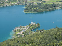 Panoramic View of Lake Worthersee Stock Image