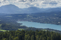 Panoramic View of Lake Worthersee Royalty Free Stock Photography