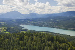 Panoramic View of Lake Worthersee Stock Photography