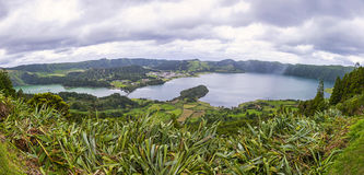 Panoramic view of the Lakes of Sete Cidades, Azores, Portugal Royalty Free Stock Photos