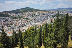 Panoramic view of Lamia City, Central Greece Stock Photos